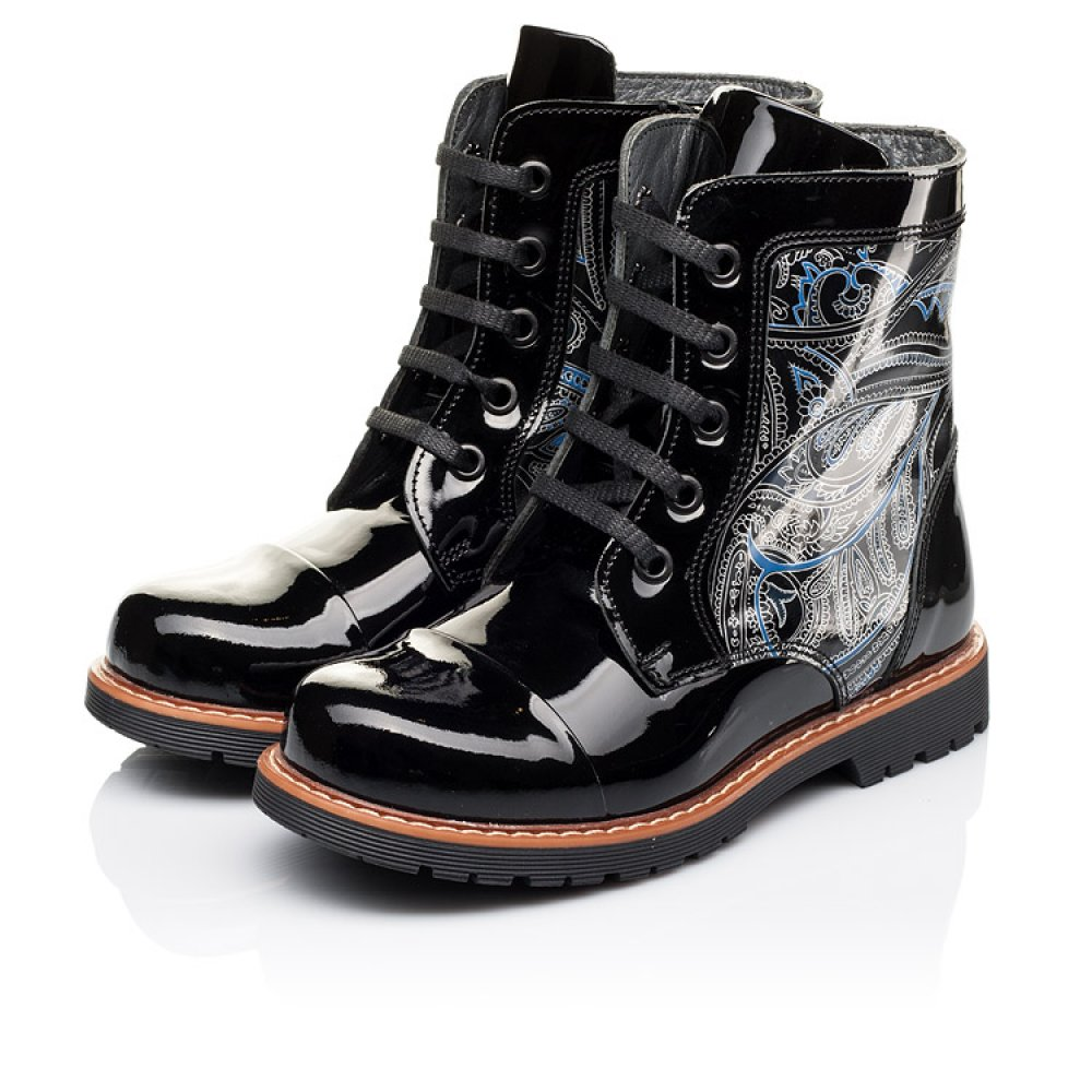 Детские демисезонные ботинки Woopy Orthopedic черные для девочек натуральная лаковая кожа размер 25-38 (3212) Фото 3