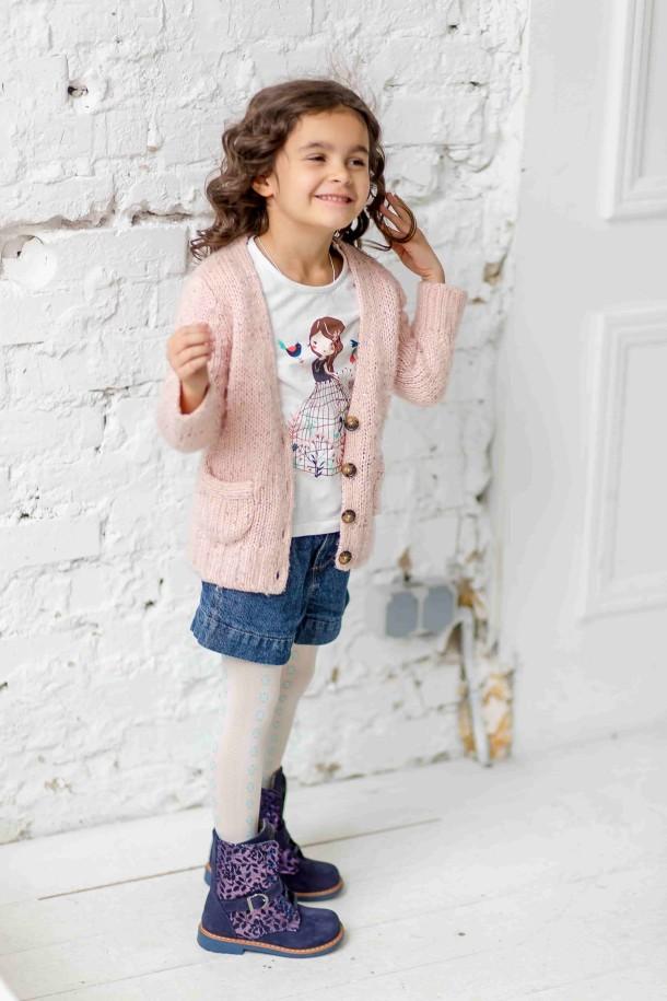 Девочка обута в детские демисезонные ботинки Woopy Orthopedic синие (3213) Фото 1