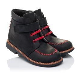 Детские демисезонные ботинки Woopy Orthopedic черные для мальчиков натуральный нубук OIL размер 18-19 (3221) Фото 1