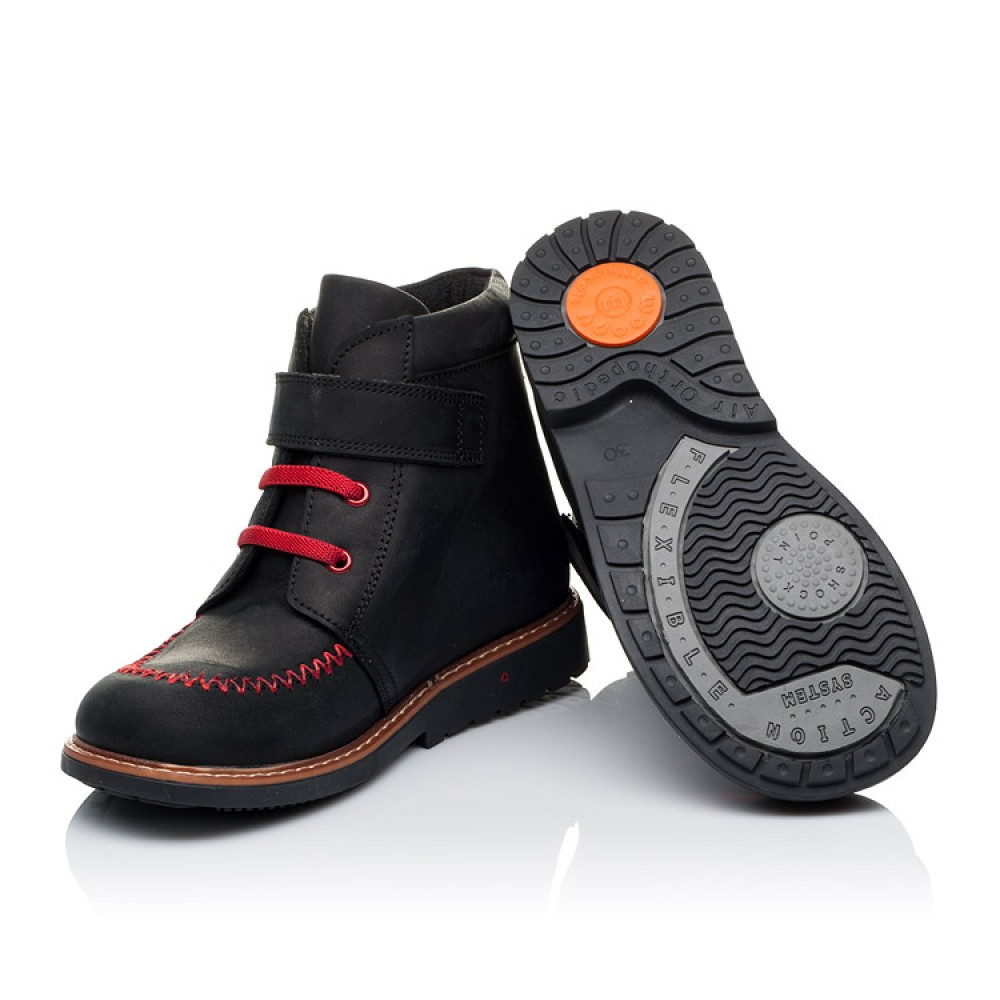 Детские демисезонные ботинки Woopy Orthopedic черные для мальчиков натуральный нубук OIL размер 18-30 (3221) Фото 2