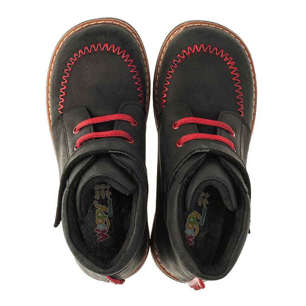 Детские демисезонные ботинки Woopy Orthopedic черные для мальчиков натуральный нубук OIL размер 18-30 (3221) Фото 5