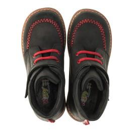 Детские демисезонные ботинки Woopy Orthopedic черные для мальчиков натуральный нубук OIL размер 18-19 (3221) Фото 5