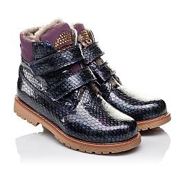Детские зимние ботинки на меху Woopy Orthopedic фиолетовые для девочек натуральная лаковая кожа размер - (3227) Фото 1