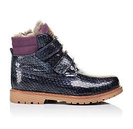 Детские зимние ботинки на меху Woopy Orthopedic фиолетовые для девочек натуральная лаковая кожа размер - (3227) Фото 4