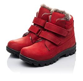 Детские зимние ботинки на меху Woopy Orthopedic красные для девочек натуральный нубук OIL размер - (3233) Фото 3
