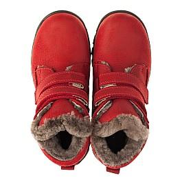Детские зимние ботинки на меху Woopy Orthopedic красные для девочек натуральный нубук OIL размер - (3233) Фото 5