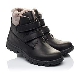 Детские зимние ботинки на меху низкие Woopy Orthopedic черные для мальчиков натуральный нубук OIL размер - (3234) Фото 1