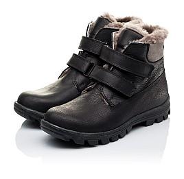 Детские зимние ботинки на меху низкие Woopy Orthopedic черные для мальчиков натуральный нубук OIL размер - (3234) Фото 3