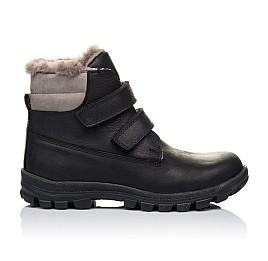 Детские зимние ботинки на меху низкие Woopy Orthopedic черные для мальчиков натуральный нубук OIL размер - (3234) Фото 4