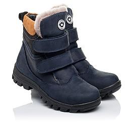 Детские зимние ботинки на меху Woopy Orthopedic темно-синие для мальчиков натуральный нубук OIL размер - (3241) Фото 1