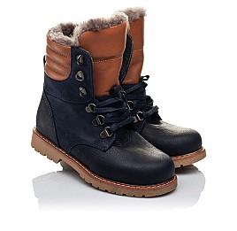 Детские зимние ботинки на меху Woopy Orthopedic темно-синие для мальчиков натуральный нубук OIL размер - (3242) Фото 1