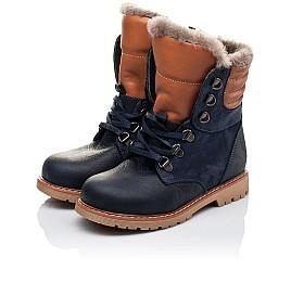 Детские зимние ботинки на меху Woopy Orthopedic темно-синие для мальчиков натуральный нубук OIL размер - (3242) Фото 3