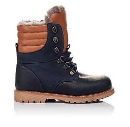 Детские зимние ботинки на меху Woopy Orthopedic темно-синие для мальчиков натуральный нубук OIL размер - (3242) Фото 4