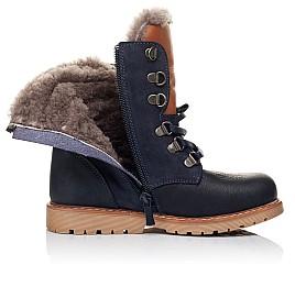 Детские зимние ботинки на меху Woopy Orthopedic темно-синие для мальчиков натуральный нубук OIL размер - (3242) Фото 5