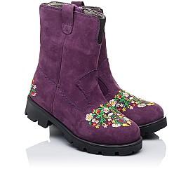 Детские зимние сапожки на меху Woopy Orthopedic фиолетовые для девочек натуральный нубук размер - (3244) Фото 1