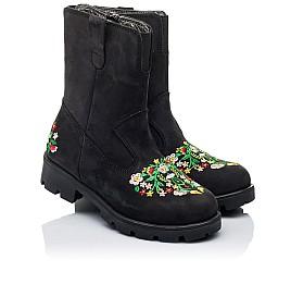 Детские зимние сапожки на меху Woopy Orthopedic черные для девочек натуральный нубук  OIL (это нубук, который в процессе производства защитили от влаги) размер - (3249) Фото 1