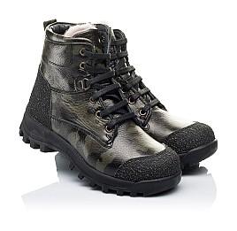 Детские зимние ботинки на меху Woopy Orthopedic зеленые для мальчиков натуральная кожа размер - (3250) Фото 1