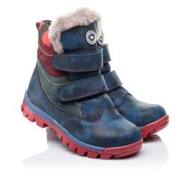 Детские зимние ботинки на меху высокие Woopy Orthopedic синие для девочек натуральная кожа размер - (3251) Фото 1