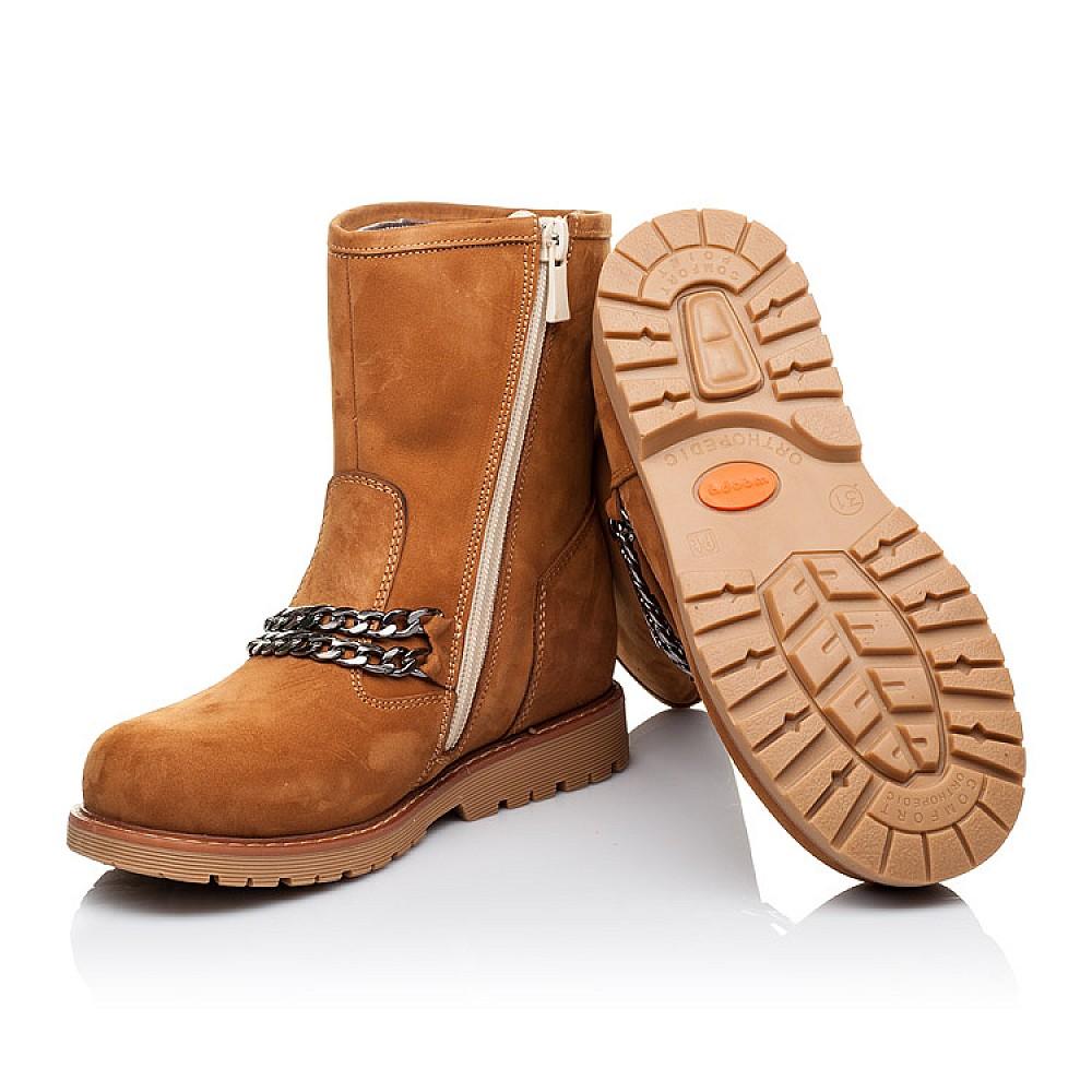 Детские зимние ботинки на меху Woopy Orthopedic рыжие для девочек натуральный нубук размер 26-33 (3260) Фото 2