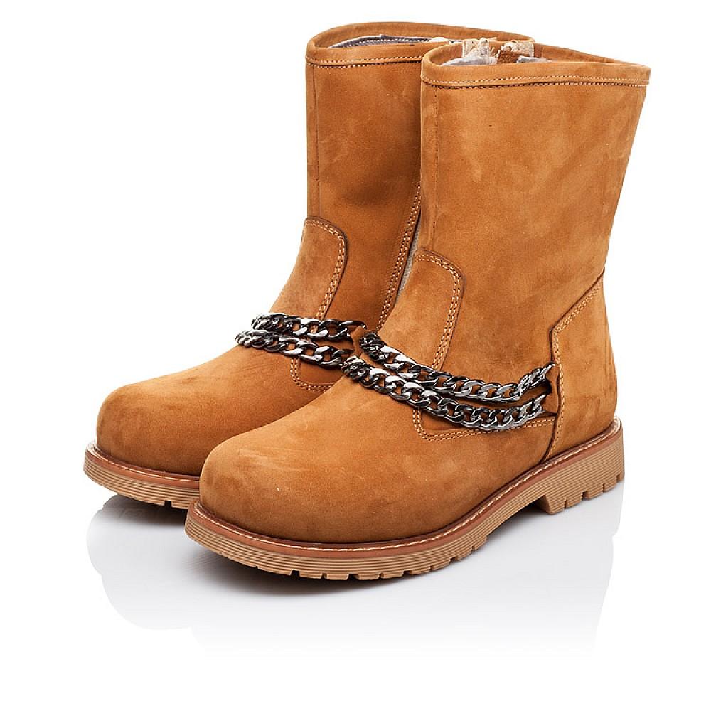 Детские зимние ботинки на меху Woopy Orthopedic рыжие для девочек натуральный нубук размер 26-33 (3260) Фото 3
