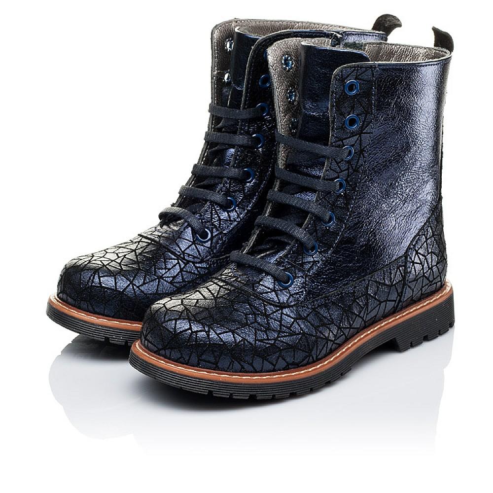 Детские демисезонные ботинки Woopy Orthopedic темно-синие для девочек натуральная кожа размер 26-33 (3262) Фото 3