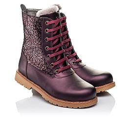 Детские зимние ботинки на меху Woopy Orthopedic белые, бордовые для девочек натуральная кожа размер - (3263) Фото 1