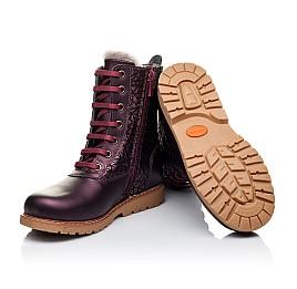 Детские зимние ботинки на меху Woopy Orthopedic белые, бордовые для девочек натуральная кожа размер - (3263) Фото 2