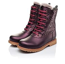 Детские зимние ботинки на меху Woopy Orthopedic белые, бордовые для девочек натуральная кожа размер - (3263) Фото 3