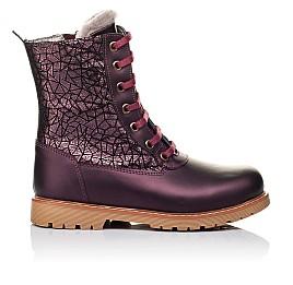 Детские зимние ботинки на меху Woopy Orthopedic белые, бордовые для девочек натуральная кожа размер - (3263) Фото 4