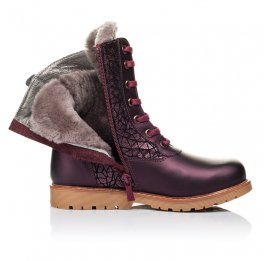 Детские зимние ботинки на меху Woopy Orthopedic белые, бордовые для девочек натуральная кожа размер - (3263) Фото 5