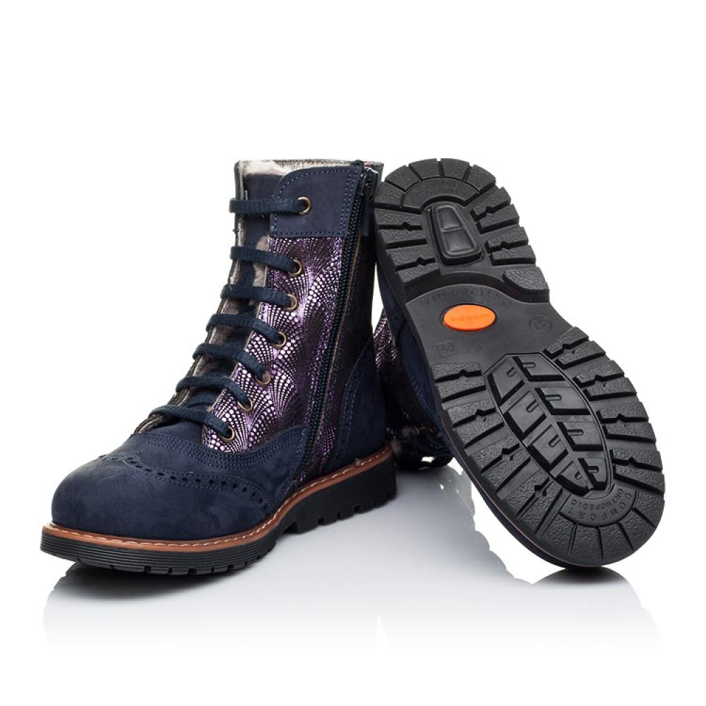 Детские зимние ботинки на меху Woopy Orthopedic темно-синие для девочек натуральный нубук размер 26-37 (3267) Фото 2