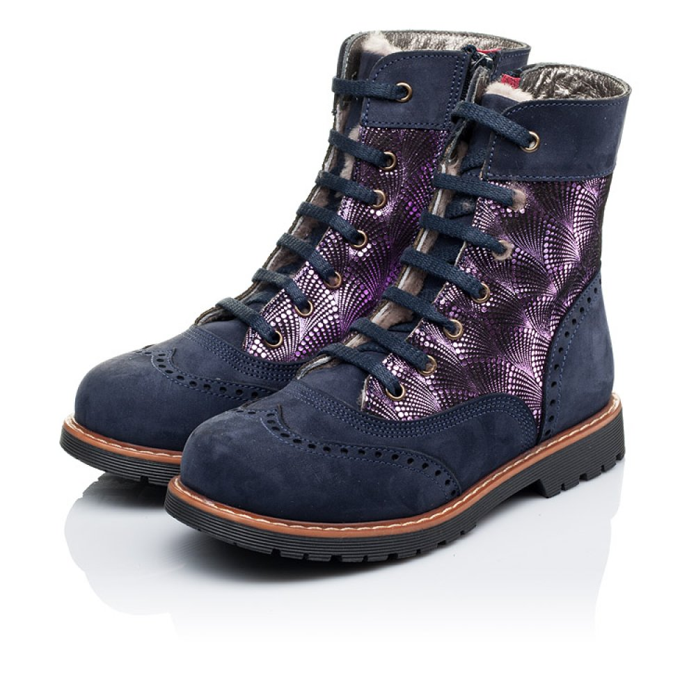 Детские зимние ботинки на меху Woopy Orthopedic темно-синие для девочек натуральный нубук размер 26-37 (3267) Фото 3