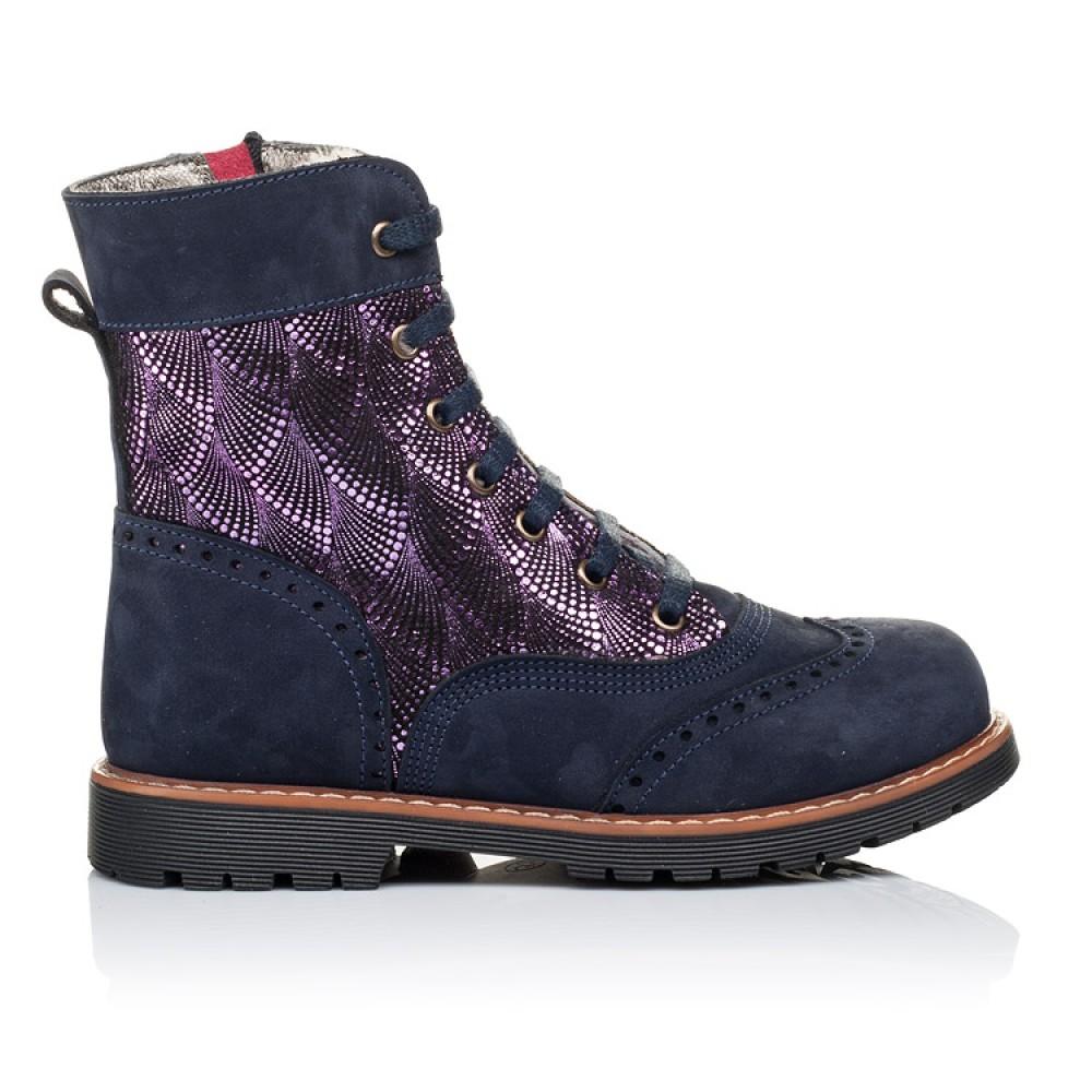 Детские зимние ботинки на меху Woopy Orthopedic темно-синие для девочек натуральный нубук размер 26-37 (3267) Фото 4
