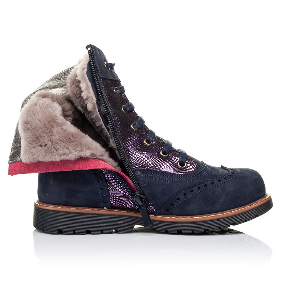 Детские зимние ботинки на меху Woopy Orthopedic темно-синие для девочек натуральный нубук размер 26-37 (3267) Фото 5
