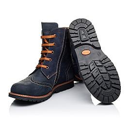 Детские зимние ботинки на меху Woopy Orthopedic темно-синие для мальчиков натуральный нубук OIL размер - (3268) Фото 2