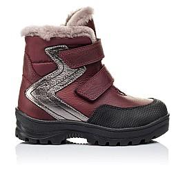 Детские зимние ботинки на меху Woopy Orthopedic белые, бордовые для девочек натуральный нубук OIL размер - (3269) Фото 3