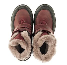 Детские зимние ботинки на меху Woopy Orthopedic белые, бордовые для девочек натуральный нубук OIL размер - (3269) Фото 4