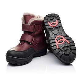 Детские зимние ботинки на меху Woopy Orthopedic белые, бордовые для девочек натуральный нубук OIL размер - (3269) Фото 5