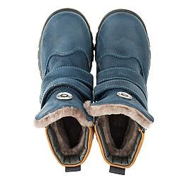 Детские зимние ботинки на меху Woopy Orthopedic синие для мальчиков натуральный нубук OIL размер - (3271) Фото 5