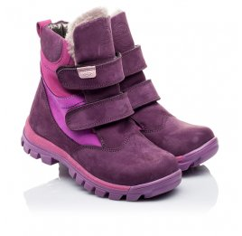 Детские зимние ботинки на меху Woopy Orthopedic фиолетовые для девочек натуральный нубук OIL размер - (3274) Фото 1
