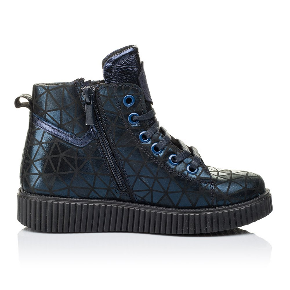 Детские демисезонные ботинки Woopy Orthopedic темно-синие для девочек натуральный нубук размер 31-36 (3288) Фото 5