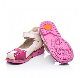 Детские туфли ортопедические Woopy Orthopedic розовые для девочек натуральная кожа и нубук размер 21-21 (3290) Фото 2