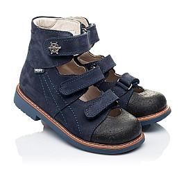 Детские ортопедические туфли (с высоким берцем) Woopy Orthopedic синие для мальчиков натуральный нубук размер 26-33 (3297) Фото 1