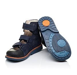 Детские ортопедичні туфлі (з високим берцем) Woopy Orthopedic синие для мальчиков натуральный нубук размер 26-33 (3297) Фото 2