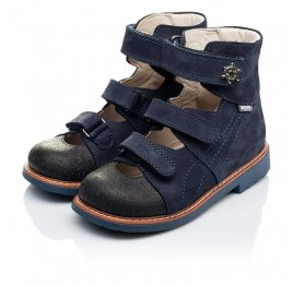 Детские ортопедические туфли (с высоким берцем) Woopy Orthopedic синие для мальчиков натуральный нубук размер 26-33 (3297) Фото 3
