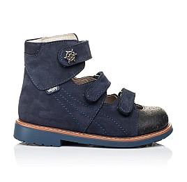 Детские ортопедические туфли (с высоким берцем) Woopy Orthopedic синие для мальчиков натуральный нубук размер 26-33 (3297) Фото 4