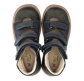Детские ортопедические туфли (с высоким берцем) Woopy Orthopedic синие для мальчиков натуральный нубук размер 26-33 (3297) Фото 5