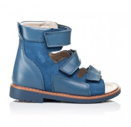 Детские ортопедичні босоніжки (з високим берцем) Woopy Orthopedic голубые для мальчиков натуральная кожа и нубук размер 18-23 (3298) Фото 4