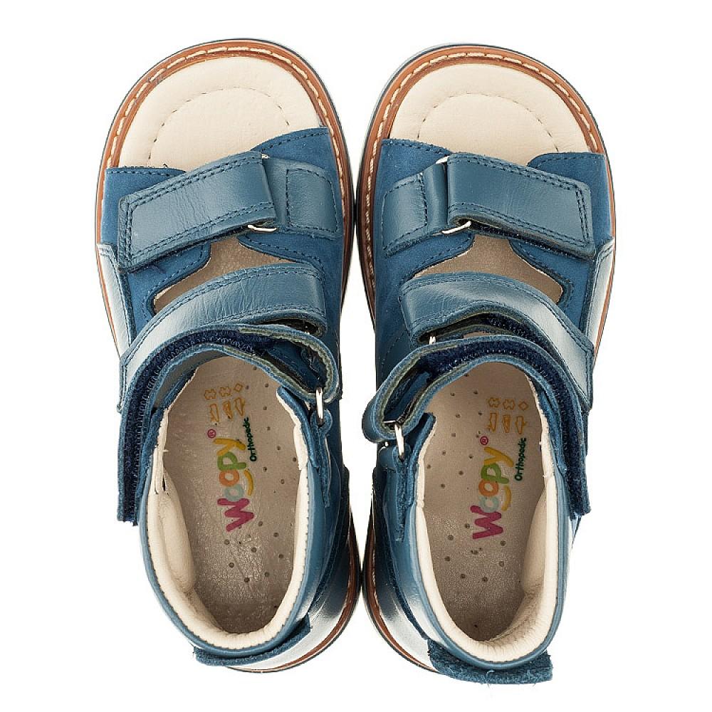 Детские ортопедические босоножки (с высоким берцем) Woopy Orthopedic голубые для мальчиков натуральная кожа и нубук размер 18-30 (3298) Фото 5
