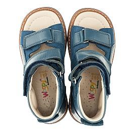 Детские ортопедичні босоніжки (з високим берцем) Woopy Orthopedic голубые для мальчиков натуральная кожа и нубук размер 18-23 (3298) Фото 5